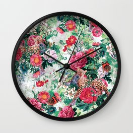 Leopards and Flowers Wall Clock