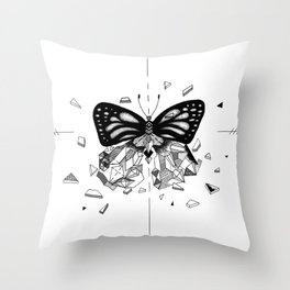 Shatter Me - destroyed butterfly black and white Throw Pillow