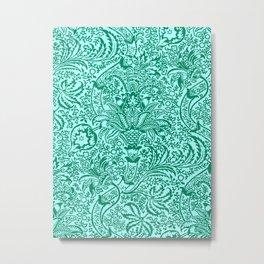 William Morris Indian, Turquoise and Light Aqua Metal Print