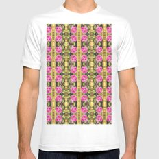 Pink roses with golden stripes pattern Mens Fitted Tee MEDIUM White