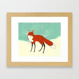 Fox in the snow, Kitsune, Vintage inspired illustration Framed Art Print