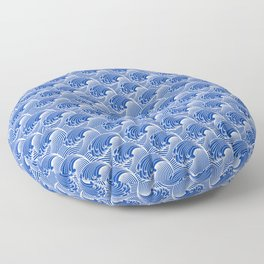 Vintage Japanese Waves, Cobalt Blue and White Floor Pillow