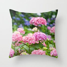 Pink & Lavender Flower Clusters Throw Pillow