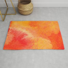 Orange watercolor paint vector background Rug