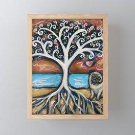 Pug love painting tree of life Framed Mini Art Print