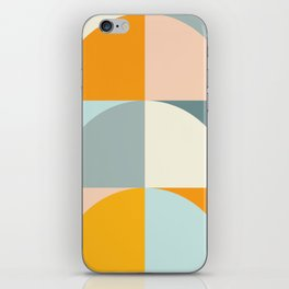 Summer Evening Geometric Shapes in Soft Blue and Orange iPhone Skin