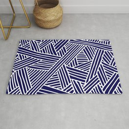 Abstract navy blue & white Lines and Triangles Pattern - Mix and Match with Simplicity of Life Rug