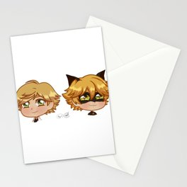 Chibi Adrien and Chat Noir Stationery Cards