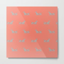 Colorful Swirl Dachshund Print in Coral and Mint Metal Print