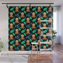 Funny cute happy meditating sloths, tropical rainforest exotic green blue leaves pattern Wall Mural