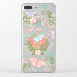 Abstract coral pink green butterfly floral illustration Clear iPhone Case