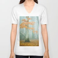 autumn V-neck T-shirts featuring Autumn Woods by Olivia Joy StClaire