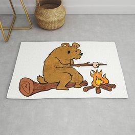 bear roasting marshmallows. Rug