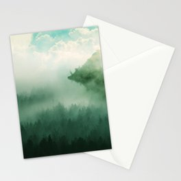Mystical Forests - Forest tapestry, atmospheric tapestry, foggy forest, relaxing forest, green Stationery Cards