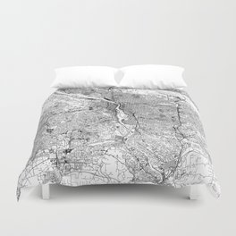 Portland White Map Duvet Cover