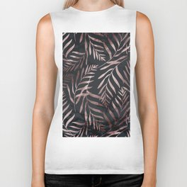 Rose Gold Leaves on Dark Gray Black Biker Tank