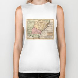 Vintage Map of The Carolinas (1746) Biker Tank