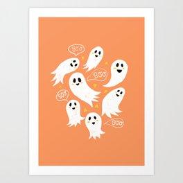 Friendly Ghosts on Orange Art Print