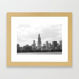 Chicago Skyline Black and White Framed Art Print