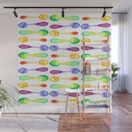 Square of Colorful Watercolor Spoons! Wall Mural