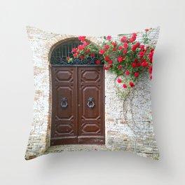 Italian Red Roses Throw Pillow