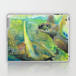 """Giant Sea Turtle Watercolor Fine Art Print Reproduction Painting """"The Lovers"""" Laptop & iPad Skin"""