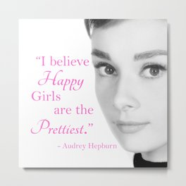 Happy Girls - Hot Pink - With Audrey Metal Print