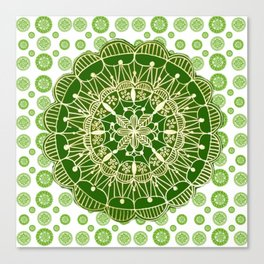 Emerald Green and Gold Mandala Overlay Textile Canvas Print