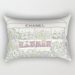 Flower Cart with Cats Black & White Rectangular Pillow