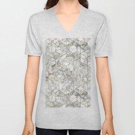 White marble geomeric pattern in gold frame Unisex V-Neck