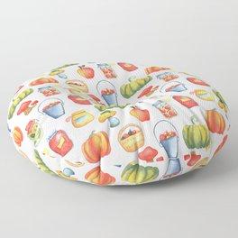 Autumn Kitchen Pattern with Pumpkin, Apple Basket, Mushroom and Preserves in Jar Floor Pillow