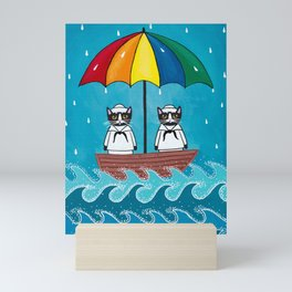 The Rainbow Umbrella Sailors Mini Art Print