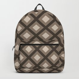 Pantone Hazelnut Zigzag, Diamond Square Pattern Backpack