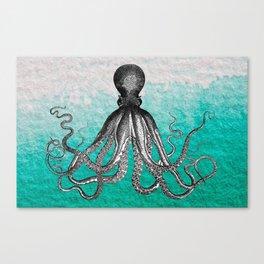 Antique Nautical Steampunk Octopus Vintage Kraken sea monster ombre turquoise blue pastel watercolor Canvas Print