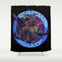 superheros Shower Curtains featuring Groot and Rocket - Guardians of the Galaxy by Leamartes