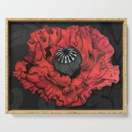 Dancing Red Poppy Serving Tray