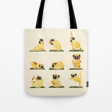 Pug Yoga Watercolor Tote Bag