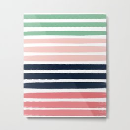 Brooklin - abstract minimal pink coral navy painting home decor abstract charlotte winter art Metal Print