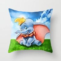 dumbo Throw Pillows featuring Dumbo by DisPrints