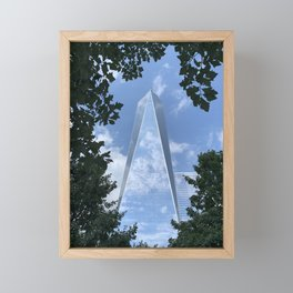 1 World Trade Center, through trees Framed Mini Art Print