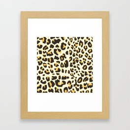 Trendy brown black abstract jaguar animal print Framed Art Print