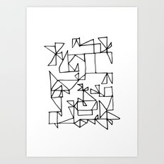 Black and White shapes Art Print