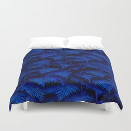 Deep Blue Fern Plant Wall Duvet Cover