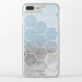 honeycomb winter forest // copper & blue Clear iPhone Case