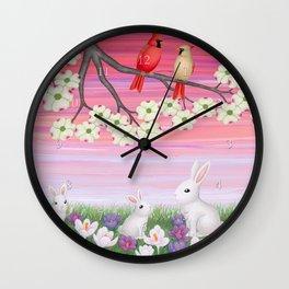 cardinals, dogwood blossoms, bunnies, & crocuses Wall Clock