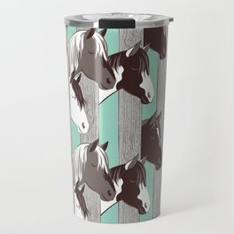Waiting for the horse race // mint background Travel Mug