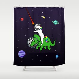 Unicorn Riding Triceratops In Space Shower Curtain