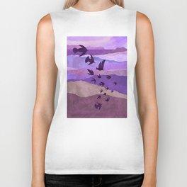 Purple Mountains Birds Take Flight Biker Tank