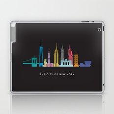 New York Skyline Empire State Poster Black Laptop & iPad Skin