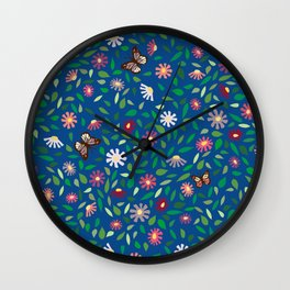Blooms and Butterflies on Lapis Blue Wall Clock